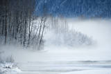 Mist Rising from a River in a Snowy Landscape at Sunrise Photographic Print by Peter Mather