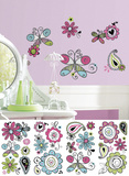 Glitter Doodlerific Floral Peel and Stick Wall Decals Wall Decal