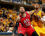 2014 NBA Playoffs Game 7: May 3, Atlanta Hawks vs Indiana Pacers - Mike Scott, Paul George Photo by Ron Hoskins