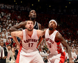 2014 NBA Playoffs Game 7: May 4, Brooklyn Nets vs Toronto Raptors - Jonas Valanciunas, Amir Johnson Photographic Print by Ron Turenne