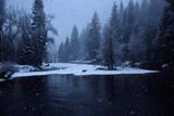 A Mule Deer Walks Along the Merced River in a Snow Storm at Twilight. Photographie par Marc Moritsch