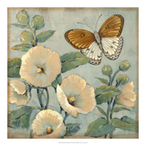 Butterfly & Hollyhocks I Giclee Print by Tim O'toole