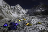 Everest's Base Camp and the Khumbu Glacier at Night Photographic Print by Cory Richards