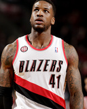 2014 NBA Playoffs Game 6: May 2, Houston Rockets vs Portland Trail Blazers - Thomas Robinson Photographic Print by Cameron Browne