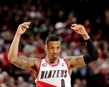 2014 NBA Playoffs Game 6: May 2, Houston Rockets vs Portland Trail Blazers - Damian Lillard Photographic Print by Cameron Browne