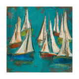 Sailboats Aqua Prints by Melissa Lyons