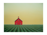 Barn Yellow Sky Giclee Print by Sharon France
