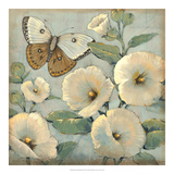 Butterfly & Hollyhocks II Giclee Print by Tim O'toole