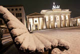 A White Blanket Covers the Square in Front of the Brandenburg Gate in Berlin, Germany Photographic Print by Arno Burgi