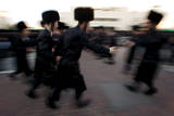 Ultra-Orthodox Jewish Men Dance as They Celebrate the Wedding in Jerusalem, Israel Photographic Print by Jim Hollander