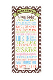 Nana and Papa's Rules Giclee Print by Helen Chen