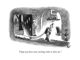 """""""I hope you have some exciting video to show me."""" - New Yorker Cartoon Premium Giclee Print by Frank Cotham"""