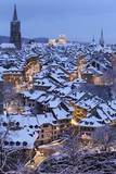 Snow-Covered Roofs of the Old Town of Bern, Switzerland Photographic Print by Peter Klaunzer