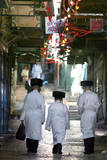 Ultra-Orthodox Jewish Rabbis Walking Through the Old City Streets in Jerusalem, Israel Photographic Print by Jim Hollander