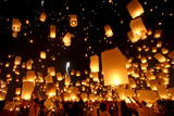 Floating Lanterns or 'Yee Peng' During the Loy Kratong Festival in Chiang Mai Photographic Print by Sangdao Sattra