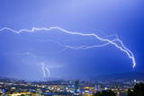 Lightning Strikes a Tower During a Thunderstorm in the Region of Zurich, Switzerland Photographic Print by Alessandro Della Bella