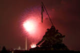 Fireworks Explode over the Iwo Jima Memorial and the National Mall in Washington, DC, USA Photographic Print by Brendan Hoffman