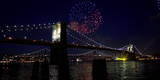 Fireworks Explode over the Brooklyn Bridge, New York Photographic Print by Andrew Gombert
