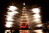 Fire Works around a Christmas Tree Photographic Print