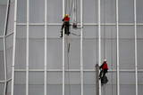 Construction Workers Climb on the China World Trade Center Phase Tower Photographic Print by Michael Reynolds