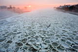 German-Polish Border River Oder Is Covered with Ice in Frankfurt Oder Photographic Print by Patrick Peul