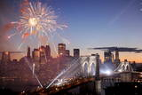 Fireworks Explode over the Brooklyn Bridge, New York Photographic Print by Justin Lane