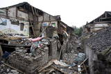 Destroyed Houses are Seen in a Neighborhood Affected by the . Magnitude Earthquake in Dujiangyan Photographic Print by Diego Azubel