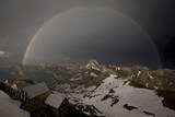 A Huge Rainbow Appears in the Sky Above the Berggasthaus Saentis Photographic Print by Alessandro Della Bella