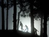 People Walk Through the Jungle in Mist Photographic Print by Narendra Shrestha