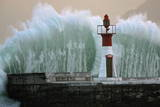 A Massive Wave Breaks over Kalk Bay Harbour Wall in Cape Town, South Africa Photographic Print by Nic Bothma