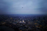 A Helicopter Flies over the St. Paul Cathedral in London, Britain Photographic Print by Kerim Okten