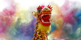 A Performer Holds the Dragon Head During a Performance of the Dragon Dance Photographic Print by Diego Azubel