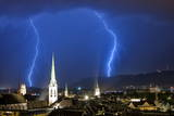 Thunderstorm Moves over the City of Zurich, Switzerland Photographic Print by Alessandro Della Bella