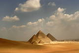 Desert View of the Great Pyramids of Giza Outside of Cairo Photographic Print by Mike Nelson