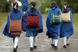 Khasi Girls on their Way to School in the Outskirts of Shillong City, Capital of Meghalaya State Photographic Print