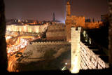View of Old City Walls in Jerusalem with Tower of David with Night Lighting Photographic Print by Yossi Zamir