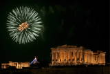 Fireworks Illuminate the Sky over Acropolis' Parthenon in Athens on the New Year's Eve Photographic Print by Orestis Panagiotou
