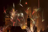 Fireworks Illuminate the Sky over Munich, Germany on New Year's Eve Photographic Print by Frank Leonhardt