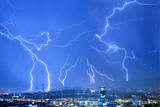 A Time Exposure Photo of a Thunderstorm with Lightnings Photographic Print by Alessandro Della Bella