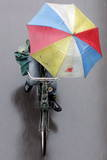 A Cyclist Holds an Umbrella Photographic Print by Michael Reynolds