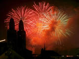Fireworks Light the Sky Near the Grossmuenster Church in Zurich, Switzerland Photographic Print by Steffen Schmidt