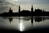 The Skyline Is Reflected on a Rainy Day in Dresden, Germany Photographic Print by Arno Burgi