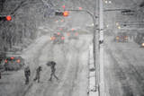 Pedestrians Cross a Large Avenue as Heavy Snow Falls in Tokyo Photographic Print by Franck Robichon