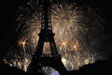 Fireworks Illuminate the Sky at the Eiffel Tower in Paris Photographic Print by Yoan Valat