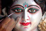 Final Touches to an Idol of Hindu Goddess Durga Ahead of the Nine Days Long Navratri Festival Photographic Print by Sanjeev Gupta