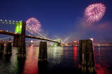 Fireworks Explode over the Brooklyn Bridge in New York City, New York, USA Photographic Print by Andrew Gombert