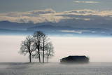Clouds Hang over a Foggy Landscape in Ebenhofen Photographic Print by Karl-Josef Hildenbrand