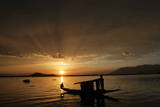 A View of Sunset on the Dal Lake in Srinagar, the Summer Capital of Indian Kashmir Photographic Print by Farooq Khan