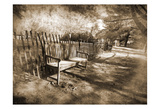 Park Bench Sepia Art by Suzanne Foschino
