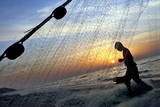 Palestinian Fishermen Pulls a Net on the Beach During Sunset Photographic Print by Ali Ali